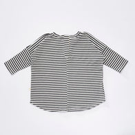Bacabuche Wide Body Long Sleeve T-Shirt in Charcoal Stripe | BIEN BIEN