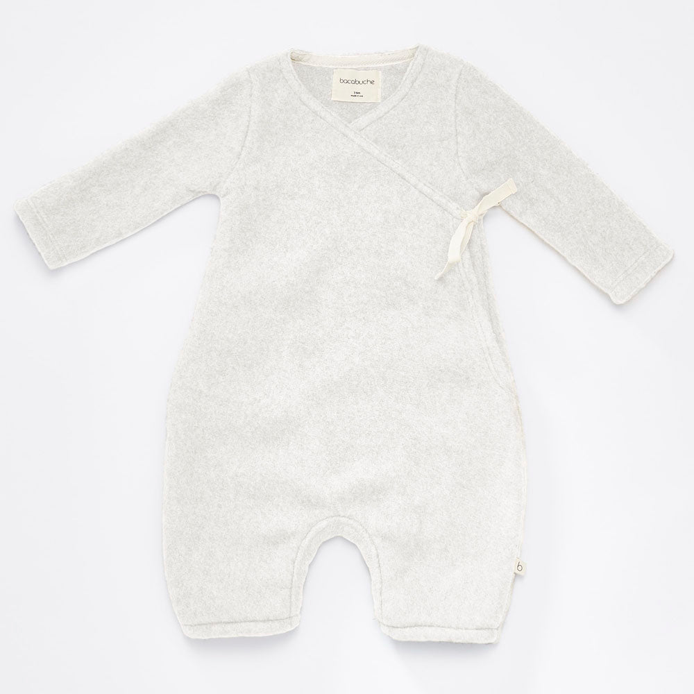 Bacabuche Long Sleeve Baby Kimono Polar Fleece Romper Milk | BIEN BIEN