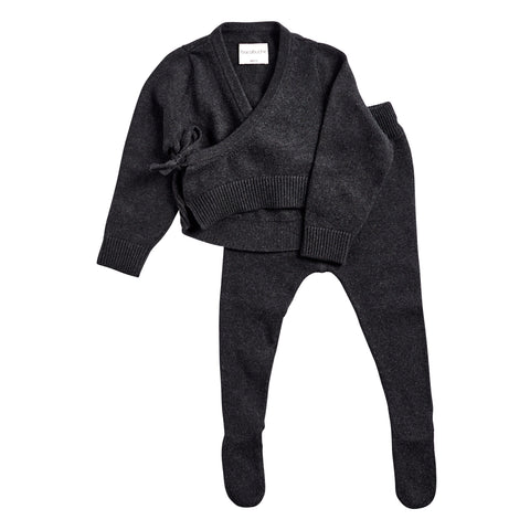 Bacabuche Infant Sweater & Footie Set in Black Charcoal | BIEN BIEN