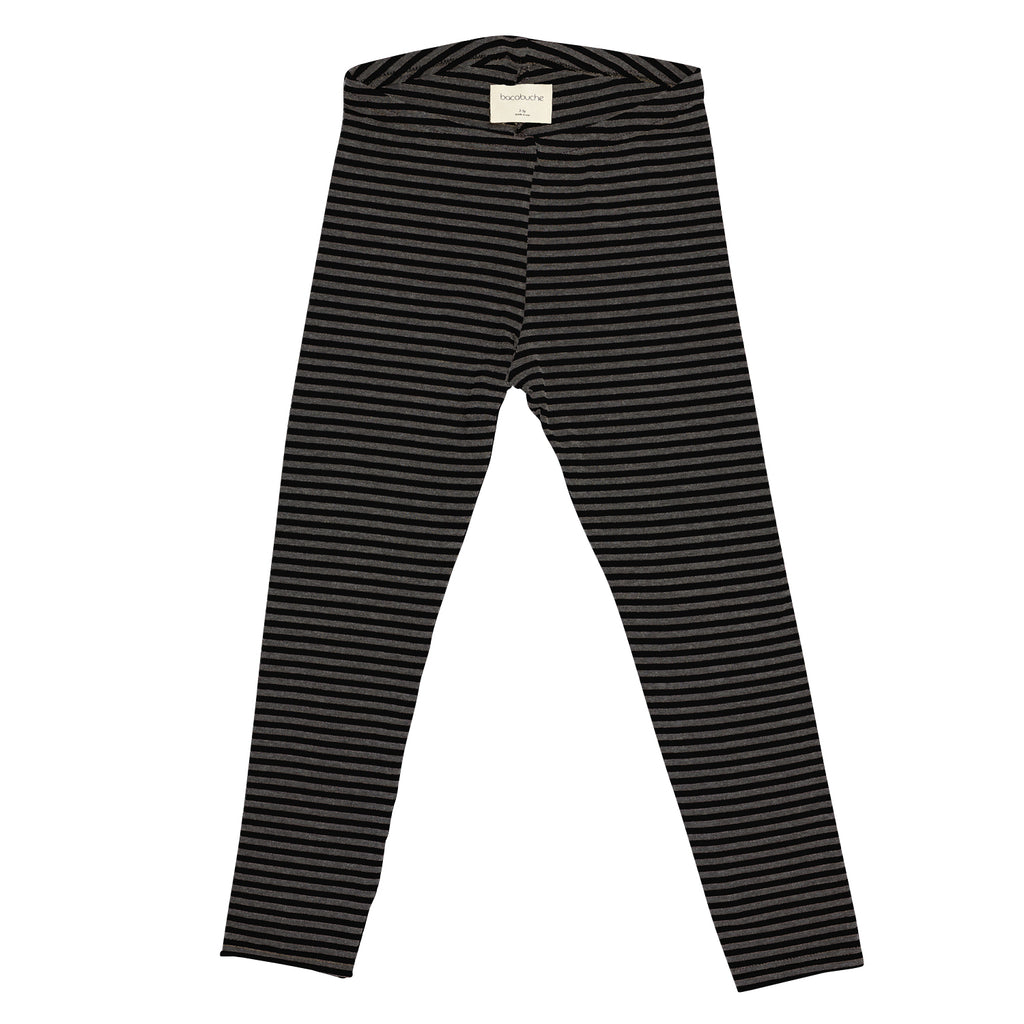 Bacabuche Organic Cotton Baby & Kid's Legging Black/Charcoal Stripe | BIEN BIEN