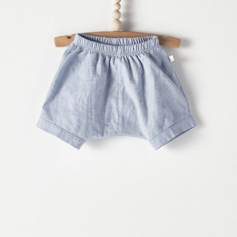 Bacabuche Baby & Toddler Shorts in Blue Oxford | BIEN BIEN