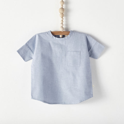 Bacabuche Woven Baby & Toddler T-Shirt in Blue Oxford | BIEN BIEN