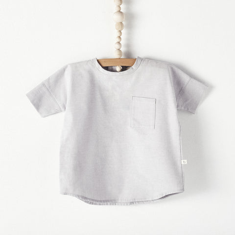Bacabuche Woven Baby & Toddler T-Shirt in Dove Oxford | BIEN BIEN