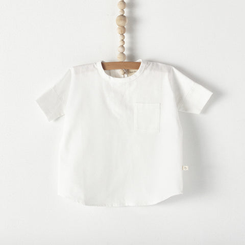 Bacabuche Woven Baby & Toddler T-Shirt in White Oxford | BIEN BIEN