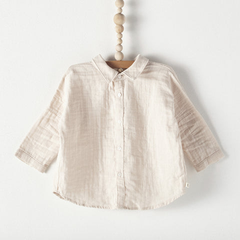 Bacabuche Button Down Baby Shirt in Blush Gauze | BIEN BIEN