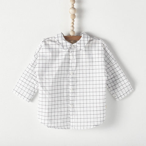 Bacabuche Button Down Baby Shirt in Grid Print | BIEN BIEN