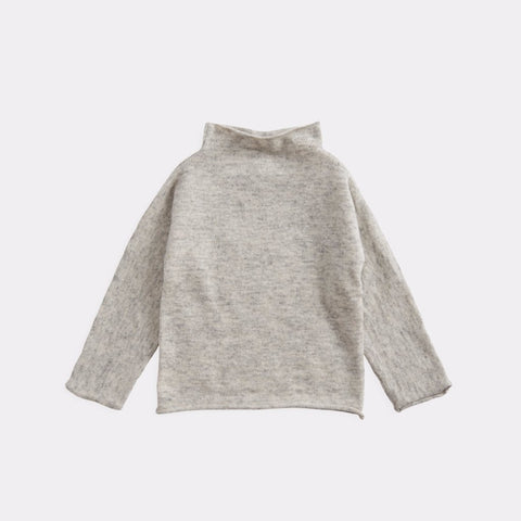 Belle Enfant Cashmere Baby Funnel Neck Sweater Light Grey | BIEN BIEN