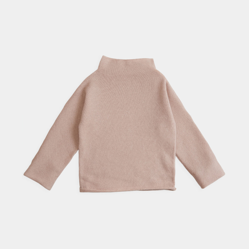 Belle Enfant Cashmere Baby Girl Funnel Neck Sweater Rose Pink | BIEN BIEN