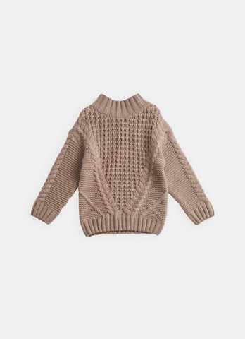 New - Belle Enfant Cable Knit Unisex Baby & Children's Sweater Hazelnut | BIEN BIEN www.bienbienshop.com