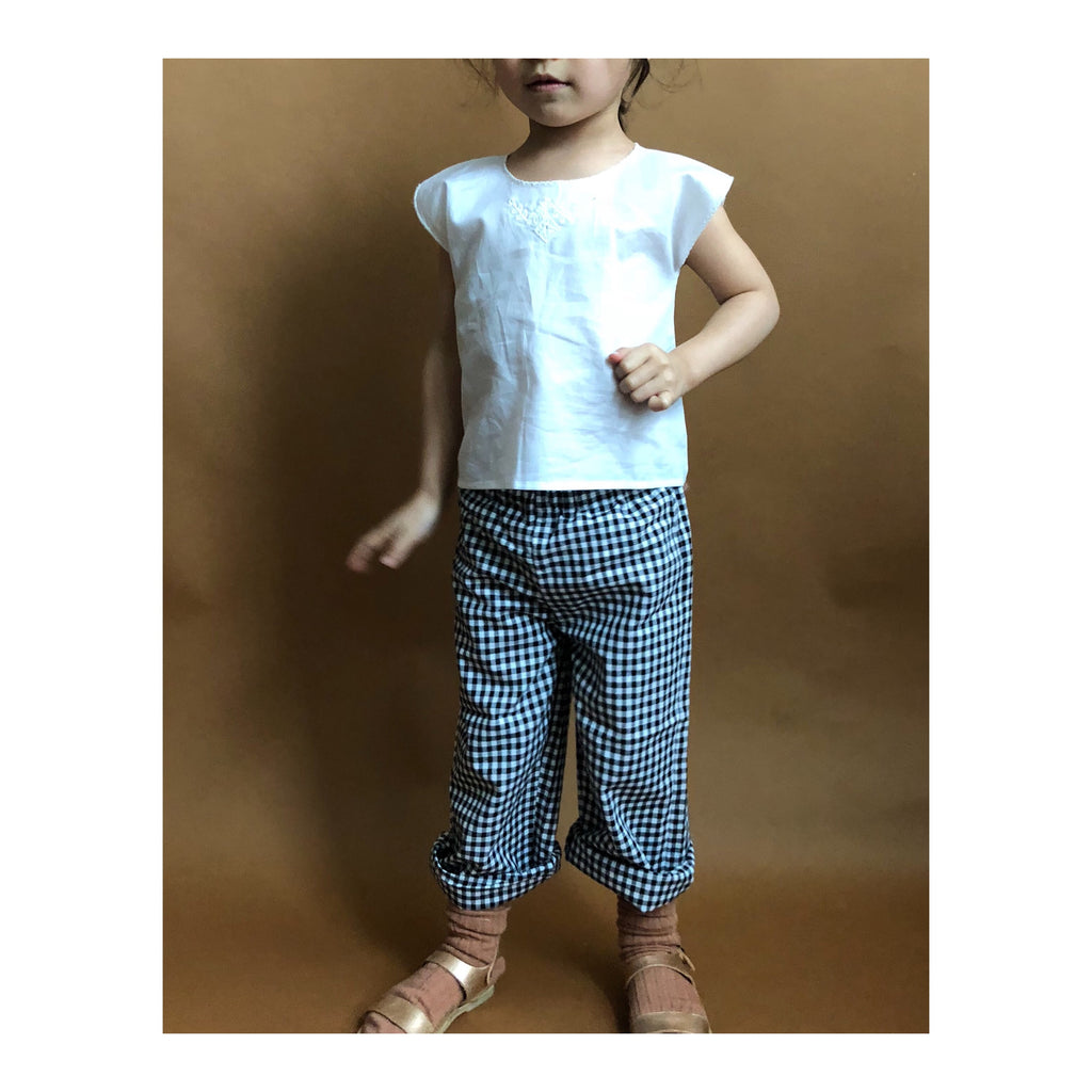 Belle Enfant Baby & Kid's Culotte Pant in Navy Gingham | BIEN BIEN