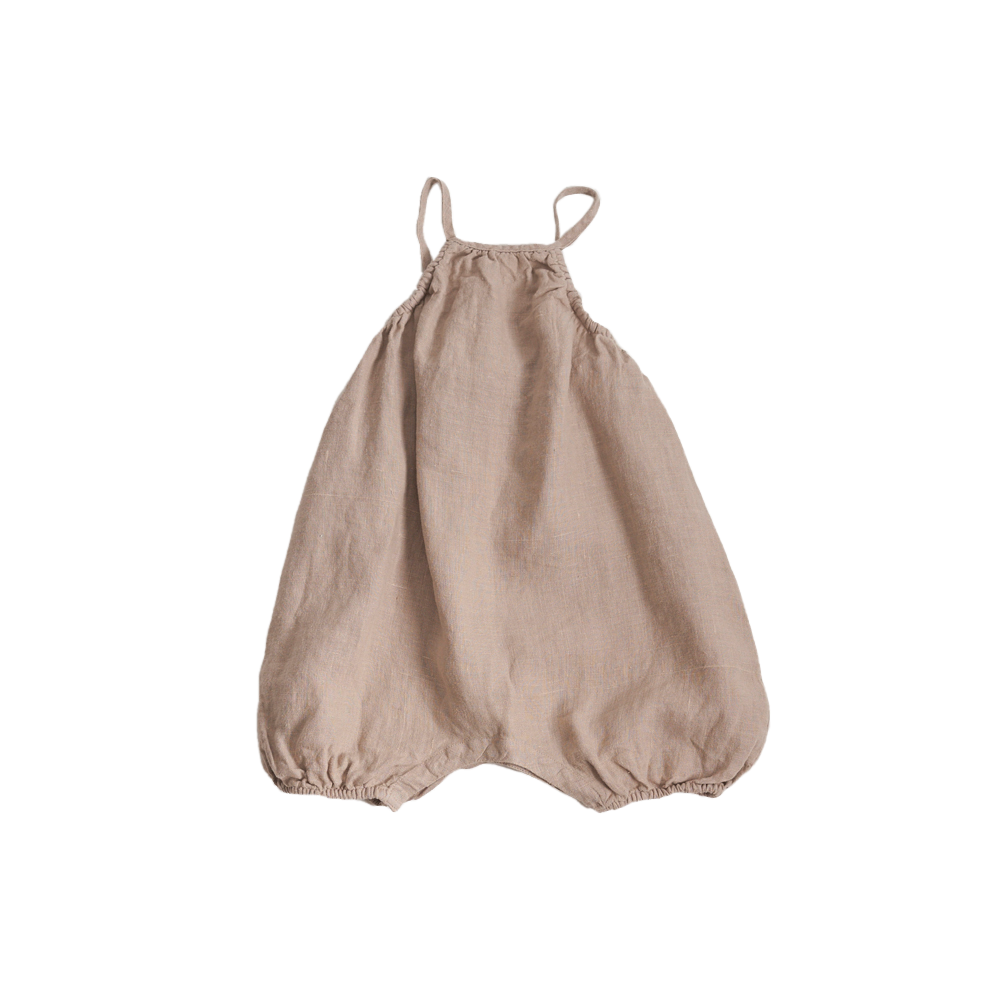 Belle Enfant Baby Girl Sleeveless Romper in Flax | BIEN BIEN