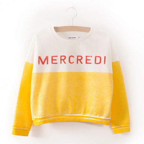 Bobo Choses Mercredi Kid's Boat Sweatshirt in Yellow/White | BIEN BIEN