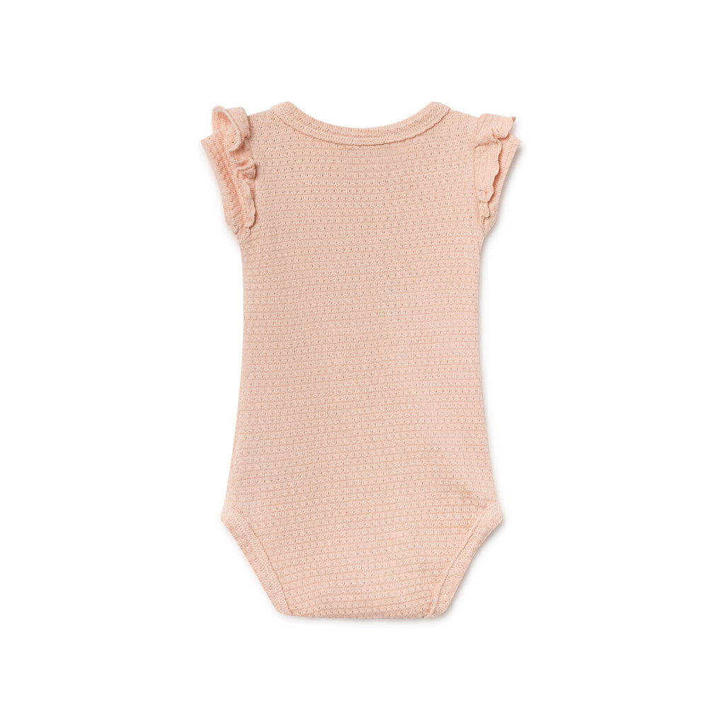 Bobo Choses Ruffled Pointelle Unisex Baby Body Peach | BIEN BIEN