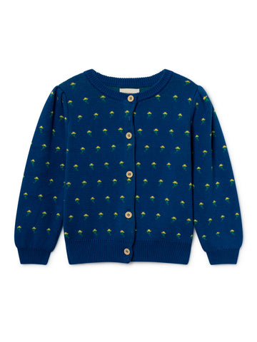 Bobo Choses Flowers Girl's Organic Cotton Cardigan Navy | BIEN BIEN www.bienbienshop.com
