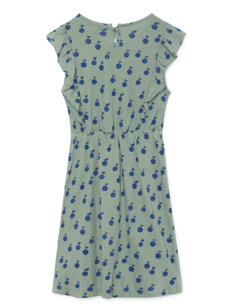 Bobo Choses Apples Kid's Ruffle Dress Mint/Navy | BIEN BIEN | www.bienbienshop.com