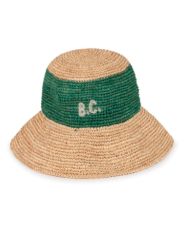 Bobo Choses Unisex Kid's Straw Hat Natural/Green | BIEN BIEN | www.bienbienshop.com