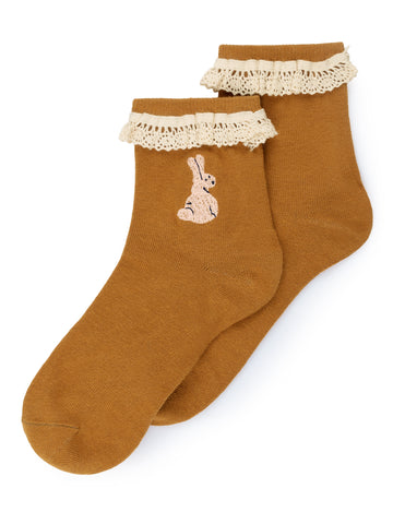 Bobo Choses Rabbits Kid's Ankle Socks Tobacco | BIEN BIEN | www.bienbienshop.com