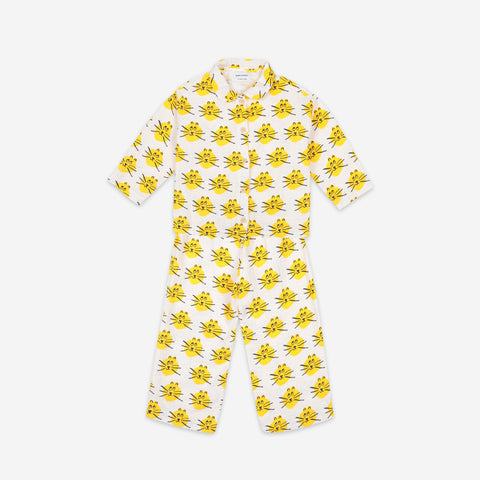 Bobo Choses Cat Kid's Pajama Set Yellow White | BIEN BIEN bienbienshop.com