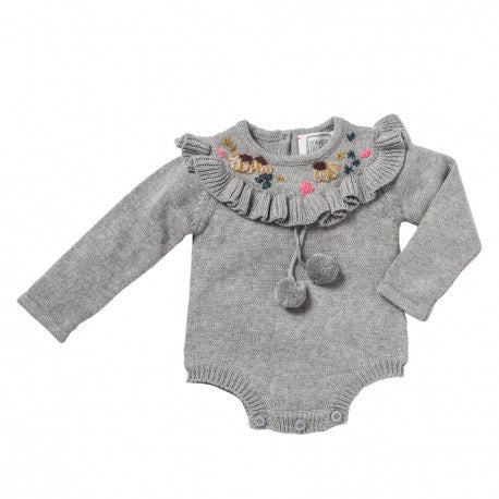 Bonheur Du Jour Laure Baby Girl Knit Romper One-Piece Grey | BIEN BIEN