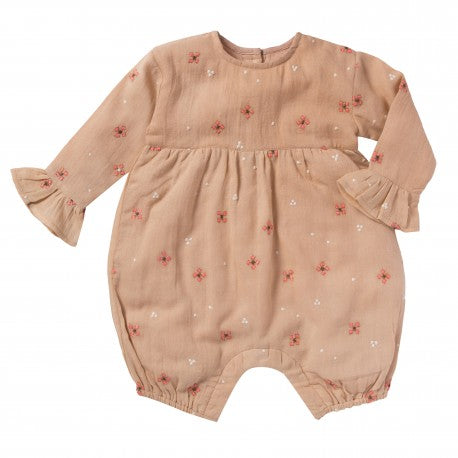 Bonheur Du Jour Suzon Baby Embroidered Romper Light Pink | BIEN BIEN