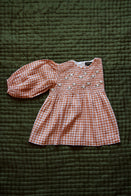 Bonjour Girl's Handsmock Embroidered Blouse Puff Sleeve Orange Gingham Check | BIEN BIEN bienbienshop.com
