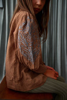 Bonjour Embroidered Blouse Long Cuffs Caramel Brown Check | BIEN BIEN bienbienshop