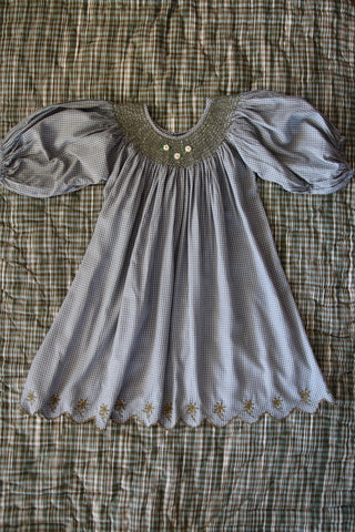 Bonjour Diary Butterfly Balloon Sleeve Dress Blue Grey Vichy Check | BIEN BIEN bienbienshop