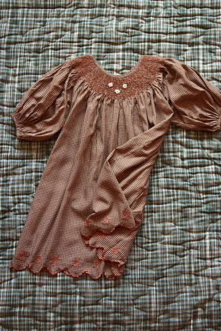Bonjour Butterfly Balloon Sleeve Smocked Embroidered Girl's Dress Caramel Brown Check | BIEN BIEN bienbienshop