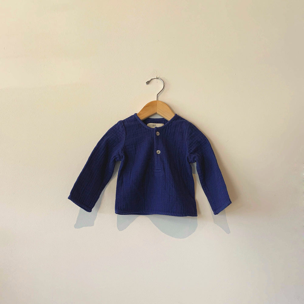 Boy+Girl Nico Baby Kurta Long Sleeve Top Navy | BIEN BIEN www.bienbienshop.com