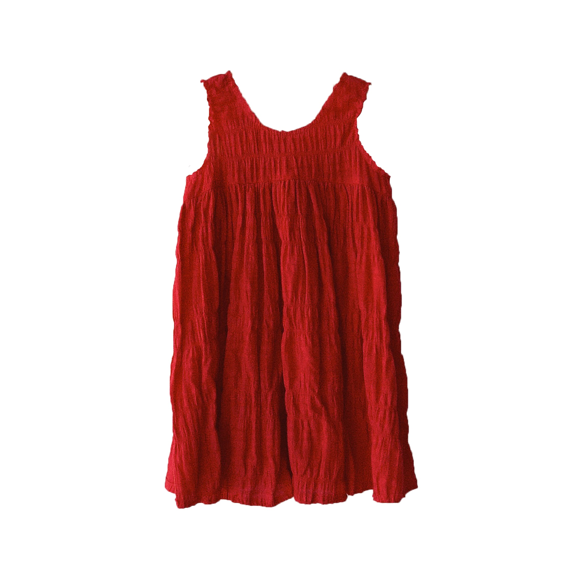 Boy+Girl Frankie Kid's Dress Apple Red Crinkled Cotton | BIEN BIEN www.bienbienshop.com