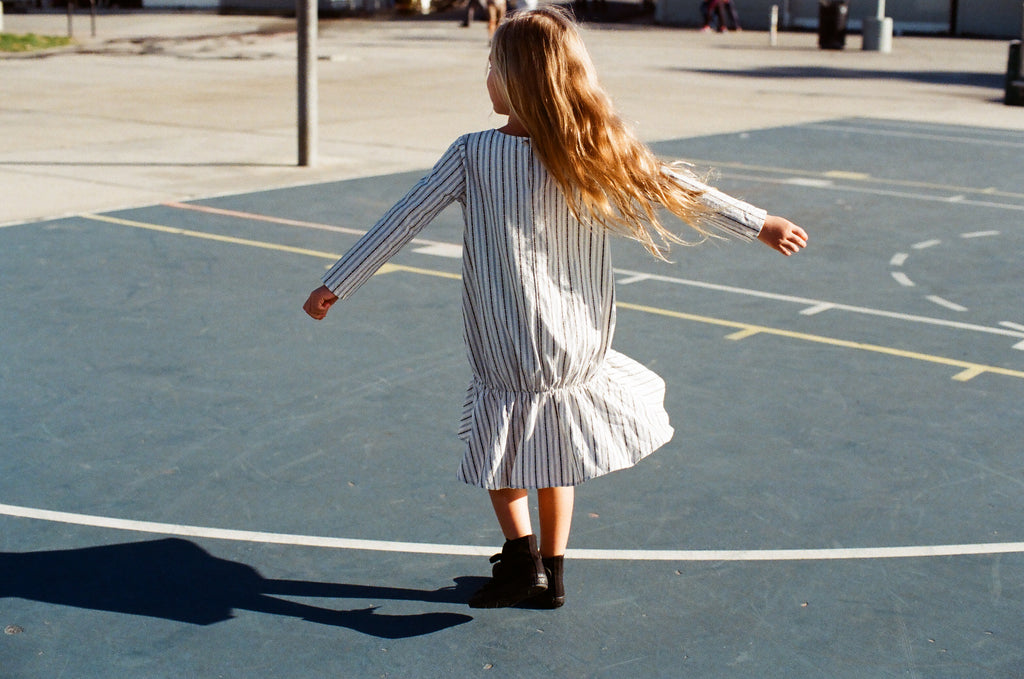boy+girl Sophie Girl's Dress in Egg Stripe | BIEN BIEN