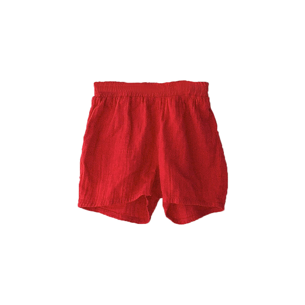 Boy+Girl Kid's Gym Short Apple Red Cotton | BIEN BIEN www.bienbienshop.com