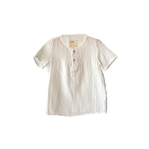 Boy+Girl Henry Kid's Kurta Top White Crinkled Cotton | BIEN BIEN www.bienbienshop.com