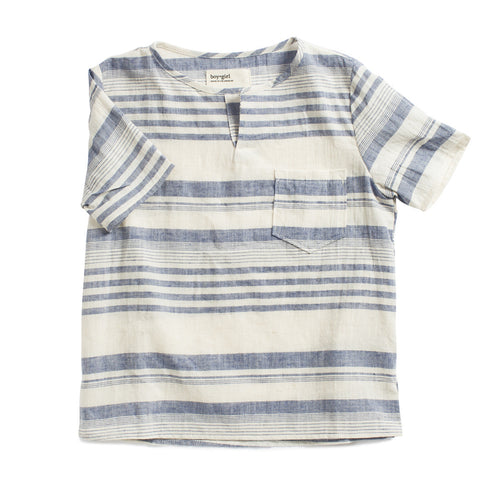 boy+girl Short Sleeve Kurta Unisex Top Blue Stripe