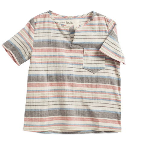 boy+girl Short Sleeve Kurta Unisex Top Red Stripe