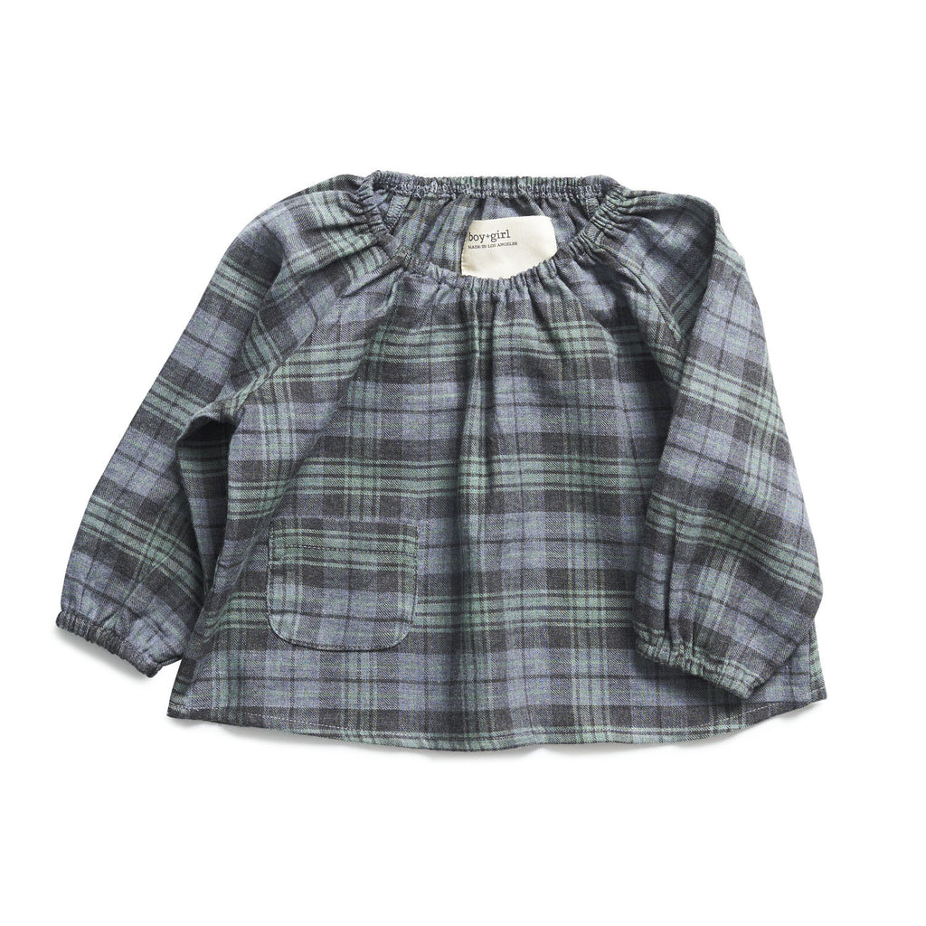boy+girl Poppy Peasant Top in Green/Charcoal Plaid
