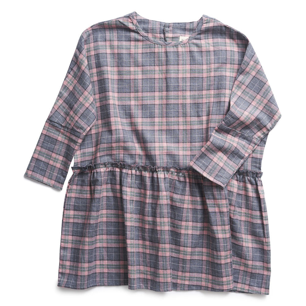 boy+girl Daisy Dress in Pink/Green Plaid | BIEN BIEN