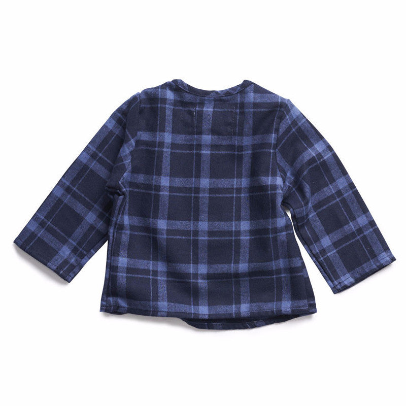 boy+girl Baby Nico Kurta in Blue Stripe Plaid