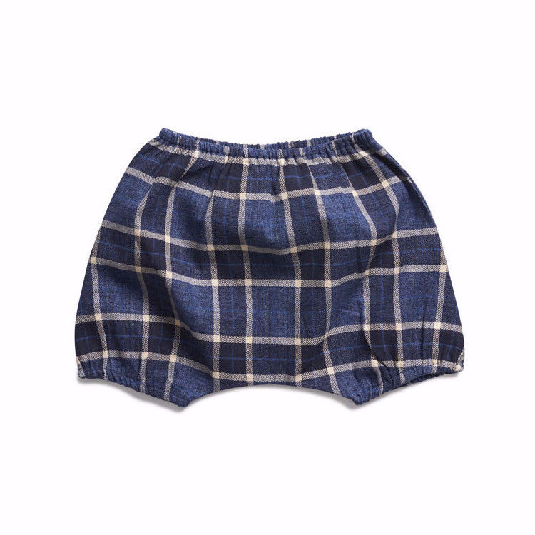 boy+girl Poppy Peasant Bloomer in Indigo Plaid