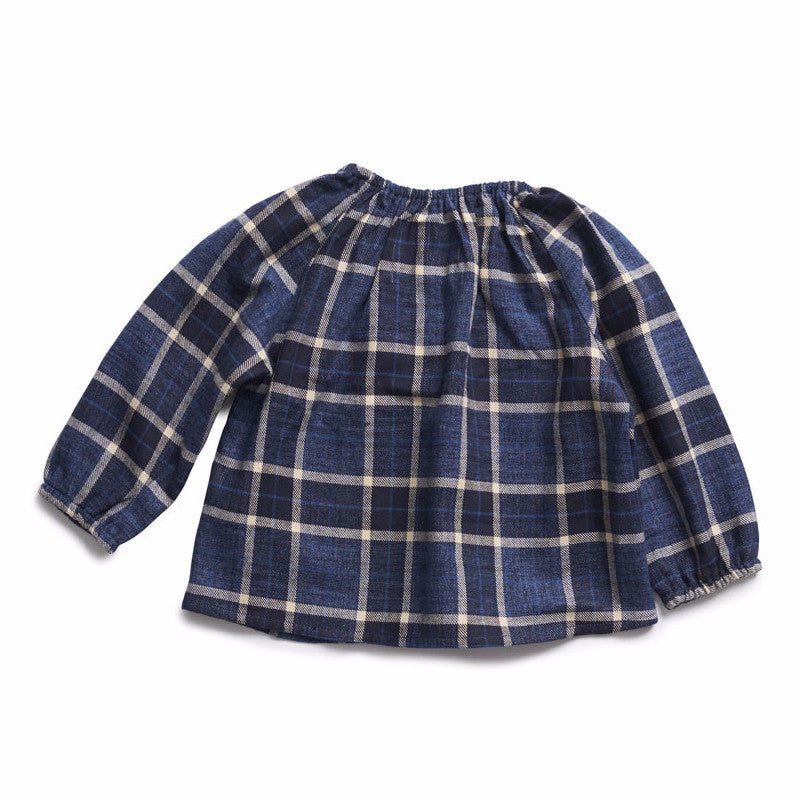 boy+girl Poppy Peasant Top in Indigo Plaid