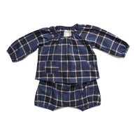 boy+girl Baby Poppy Peasant Bloomer in Indigo Plaid
