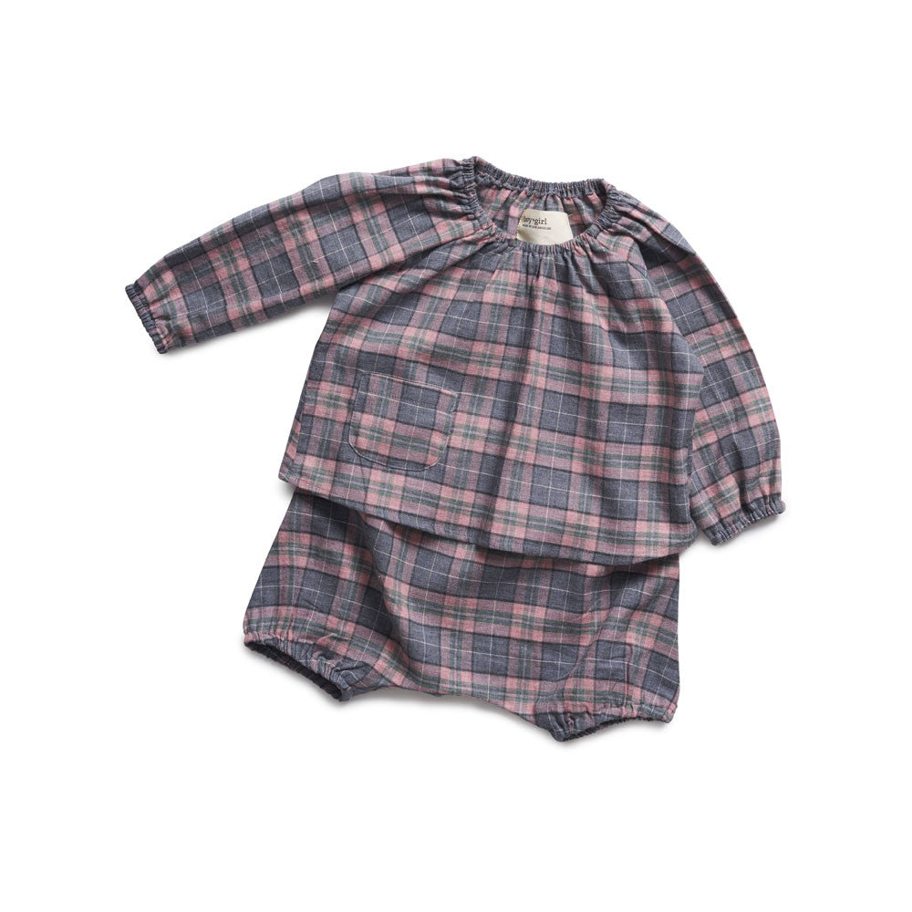 boy+girl Baby Poppy Peasant Bloomer in Pink/Green Plaid