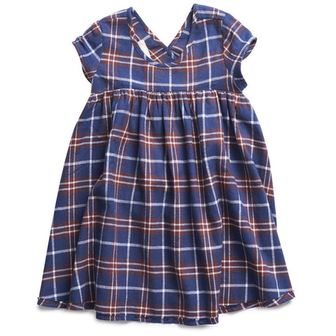 boy+girl Roman Dress in Wine/Navy Plaid