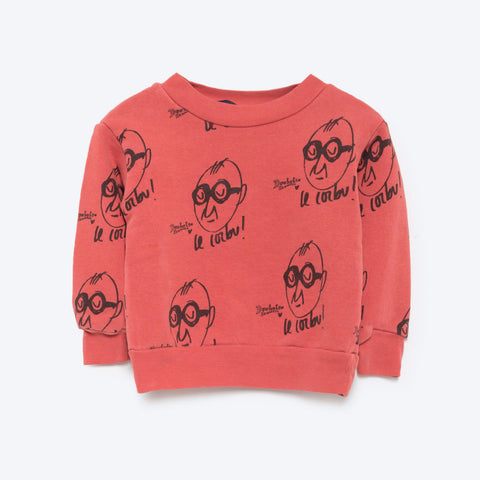 The Animals Observatory Bear Baby Sweatshirt in Red Allover Le Corbu | BIEN BIEN