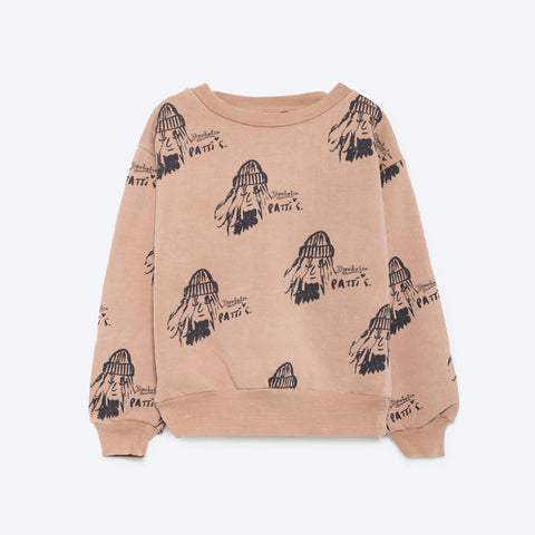 The Animals Observatory Bear Baby Sweatshirt in Toasted Allover Patti | BIEN BIEN