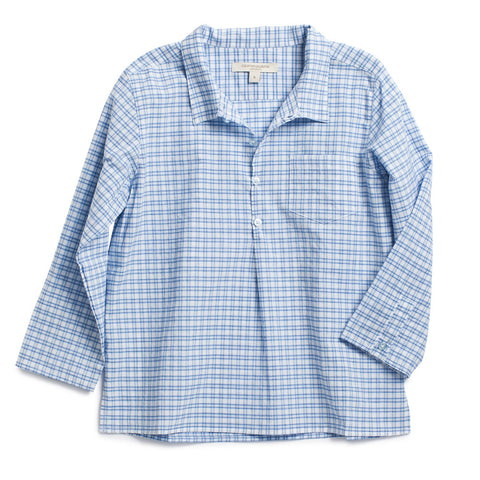 Caramel Baby & Child Alkanet Boy Shirt Window Pane Blue Plaid