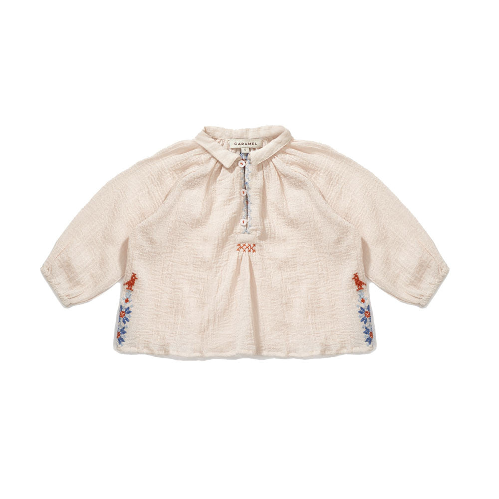 Caramel Daylily Baby Girl Blouse in Powder Pink | BIEN BIEN