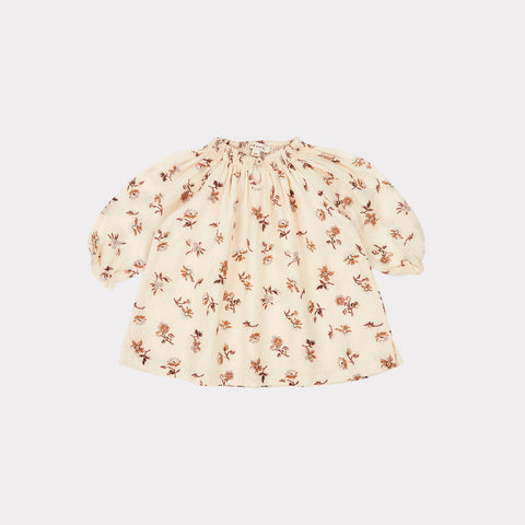 Caramel Arowana Baby Girl Dress Ditsy Floral Ivory/Brown Cotton | BIEN BIEN
