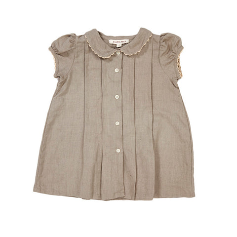 Caramel London Hyacinth Baby Dress Stone Grey Linen | BIEN BIEN www.bienbienshop.com