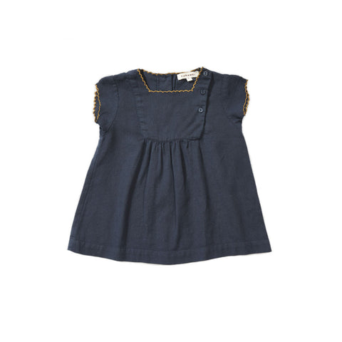 Caramel Lettuce Baby Girl Dress in Dark Navy Linen | BIEN BIEN